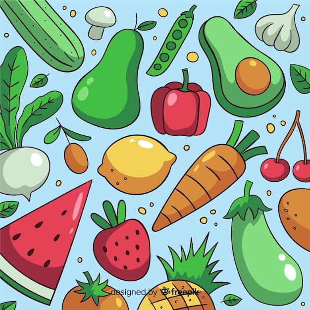 Fundo de comida saudável Vetor grátis