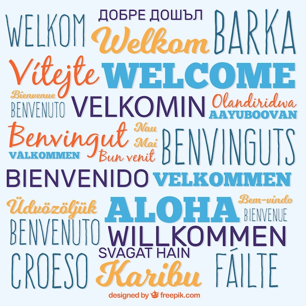 Fundo de composição de boas-vindas em idiomas diferentes Vetor grátis