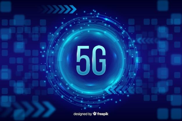 Fundo de conceito 5g azul Vetor grátis