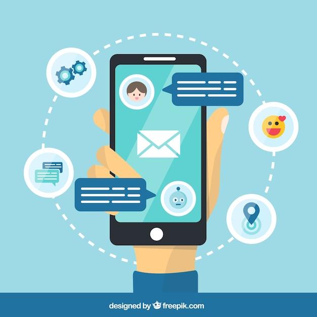Fundo de conceito chatbot com dispositivo móvel Vetor grátis