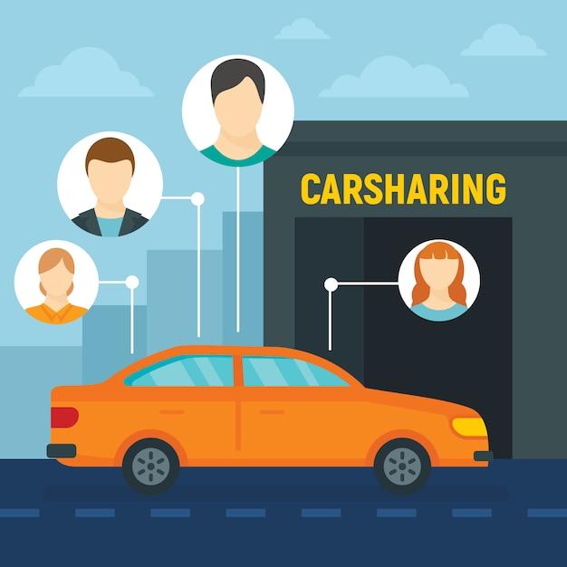 Fundo de conceito de compartilhamento de carro de amigos, estilo simples Vetor Premium