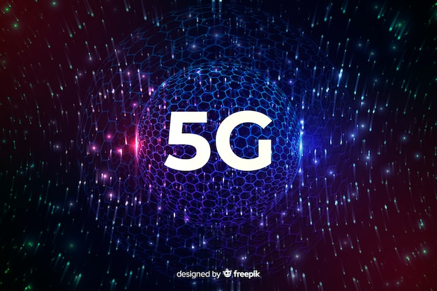 Fundo de conceito de conexão de internet 5g com um globo de discoteca Vetor grátis