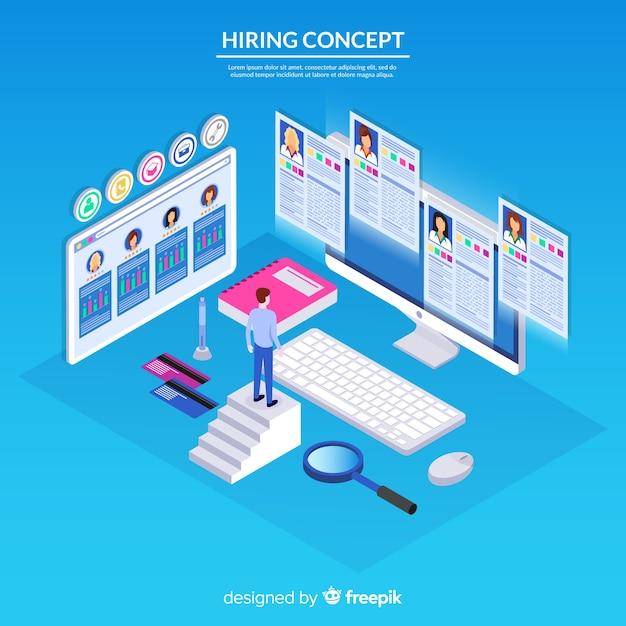 Fundo de conceito de contratação isométrica Vetor grátis