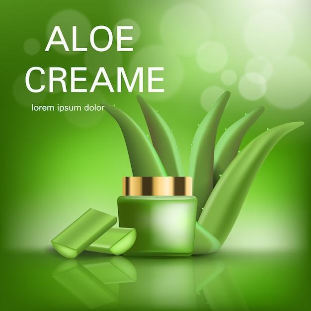 Fundo de conceito de creme de aloe. ilustração realista de aloe creme conceito de fundo vector para web design Vetor Premium