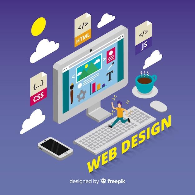 Fundo de conceito de design web Vetor grátis