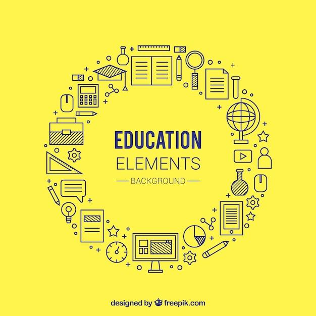 Fundo de conceito de educação circular amarelo Vetor grátis