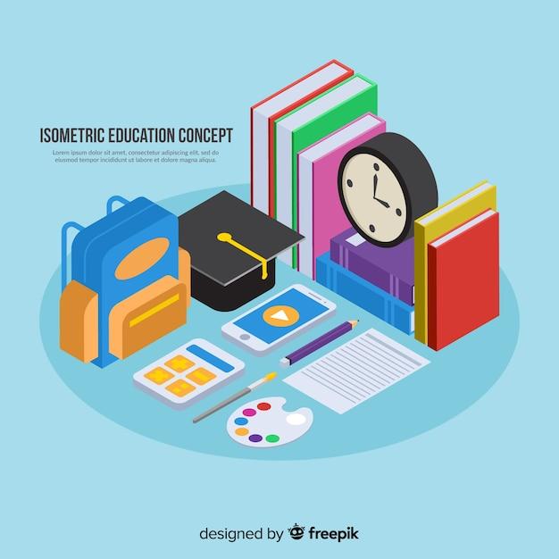 Fundo de conceito de educação isométrica Vetor grátis