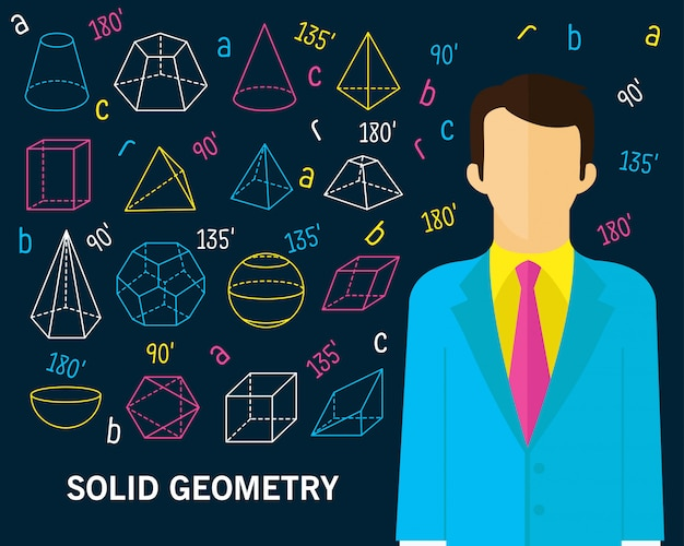 Fundo de conceito de geometria sólida Vetor Premium