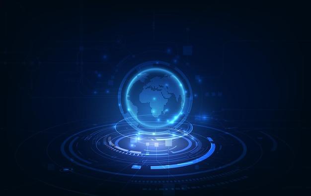 Fundo de conceito de inovação de tecnologia de conexão de rede global Vetor Premium