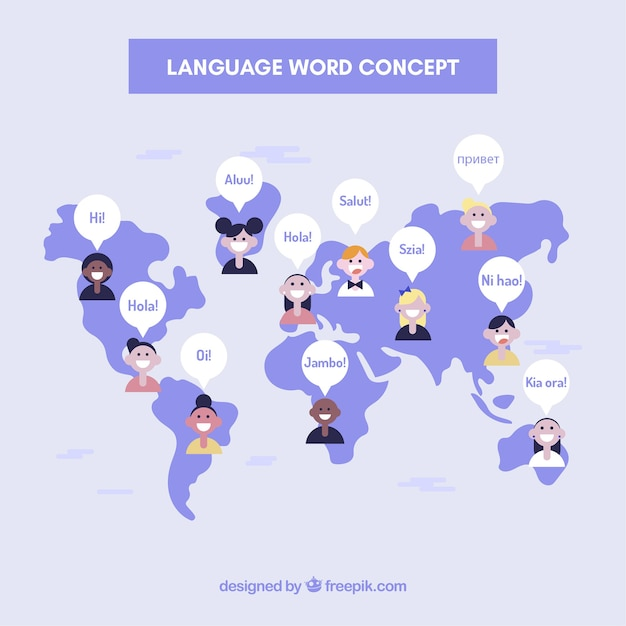 Fundo de conceito de linguagem com palavras Vetor grátis