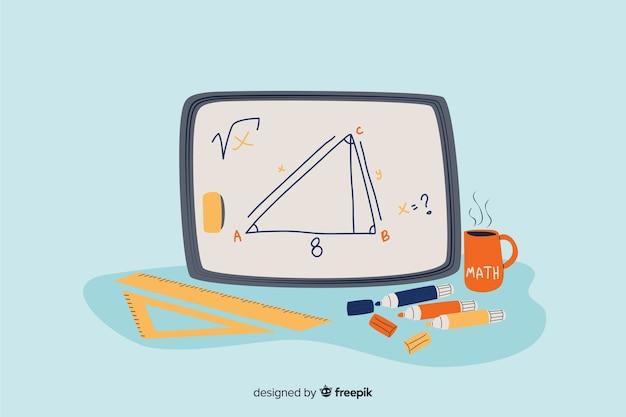 Fundo de conceito de matemática dos desenhos animados Vetor grátis