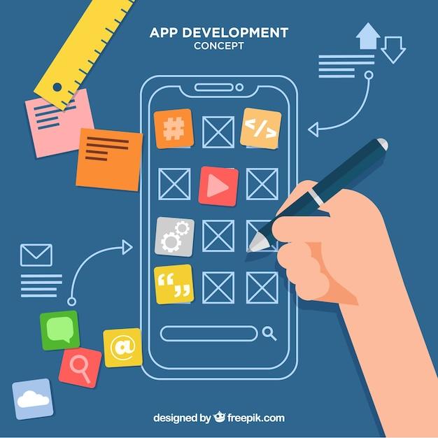 Fundo de conceito de negócio de desenvolvimento de aplicativo Vetor grátis