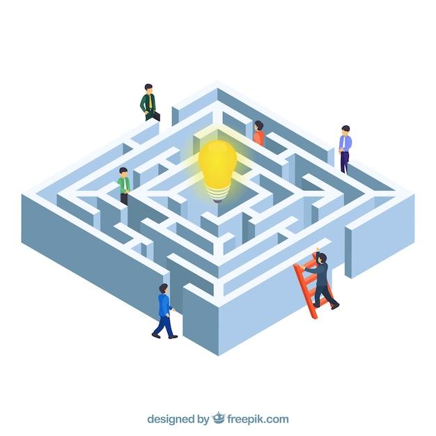 Fundo de conceito de negócio de labirinto Vetor grátis