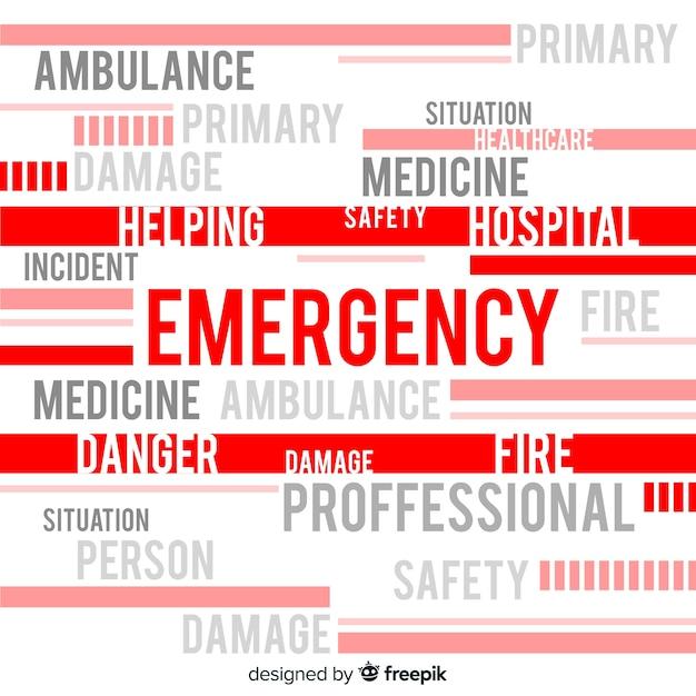 Fundo de conceito de palavra de emergência Vetor grátis