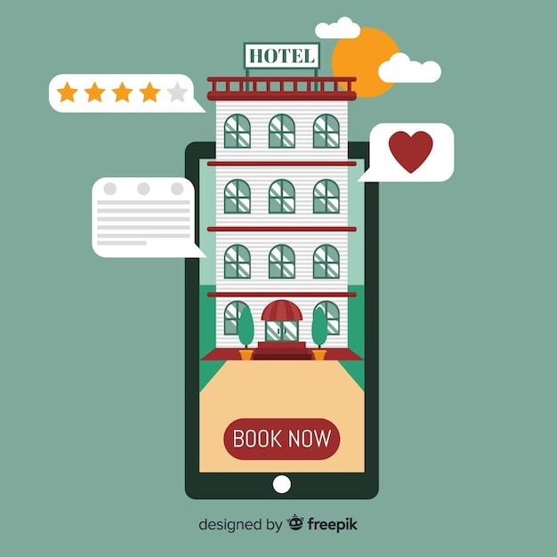 Fundo de conceito de reserva de hotel plana Vetor grátis