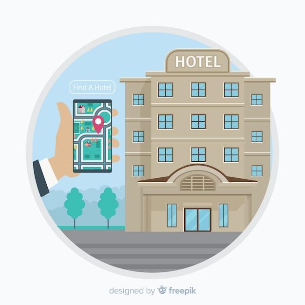 Fundo de conceito de reserva de hotel Vetor grátis