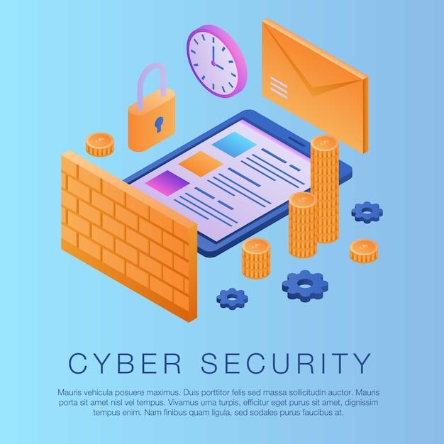 Fundo de conceito de segurança cibernética, estilo isométrico Vetor Premium