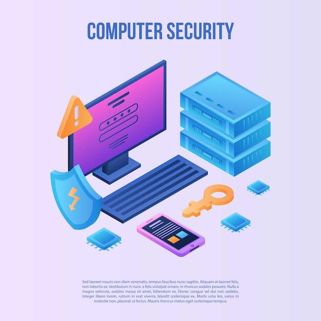 Fundo de conceito de segurança de computador, estilo isométrico Vetor Premium