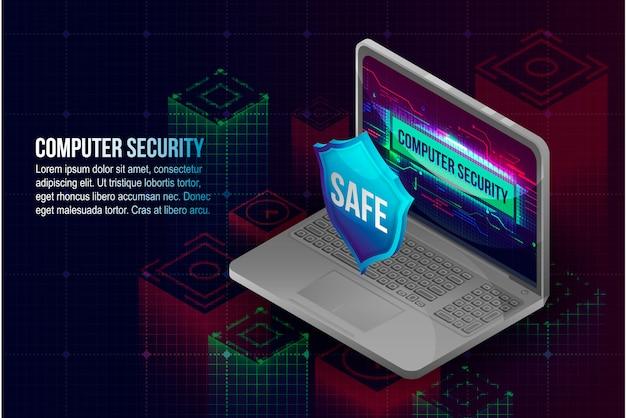 Fundo de conceito de segurança de computador Vetor Premium