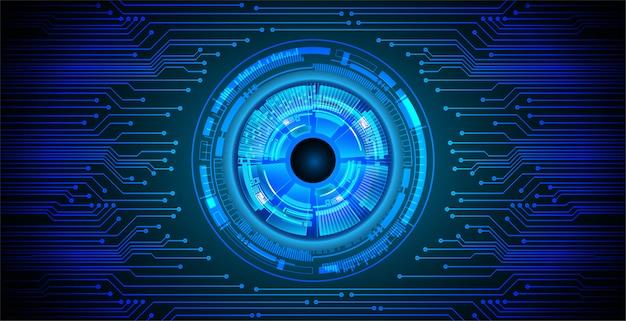 Fundo de conceito de tecnologia futura de circuito de olho azul Vetor Premium