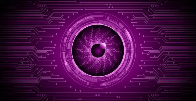 Fundo de conceito de tecnologia futura de circuito de olho roxo Vetor Premium