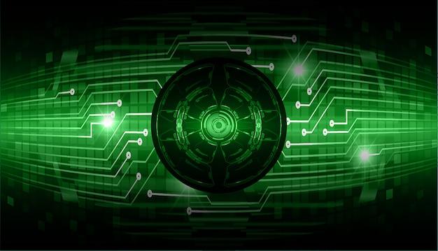Fundo de conceito de tecnologia futura de circuito de olho verde Vetor Premium