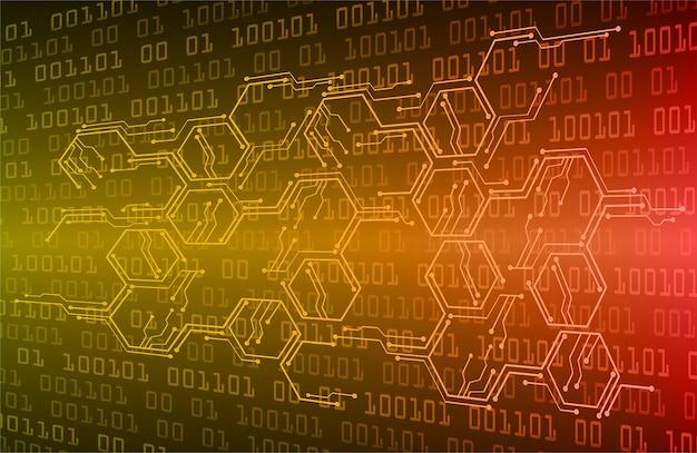 Fundo de conceito futuro tecnologia cyber circuito laranja Vetor Premium