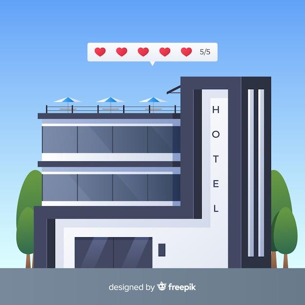 Fundo de conceito plana hotel revisão Vetor grátis