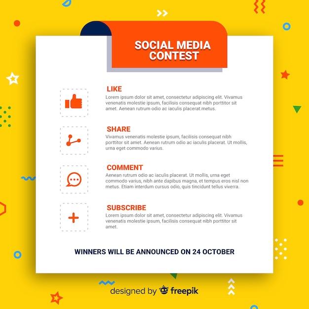 Fundo de concurso de mídia social com etapas Vetor grátis