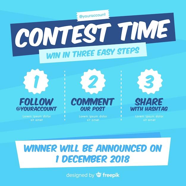 Fundo de concurso de mídia social com etapas Vetor Premium