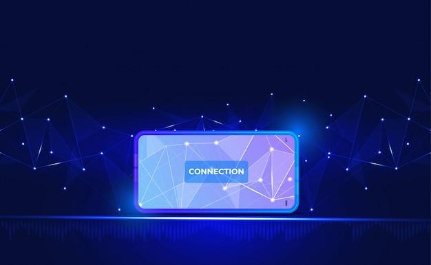 Fundo de conexão com a internet. com smartphone, low poly, ponto, círculo, linha, luz Vetor Premium
