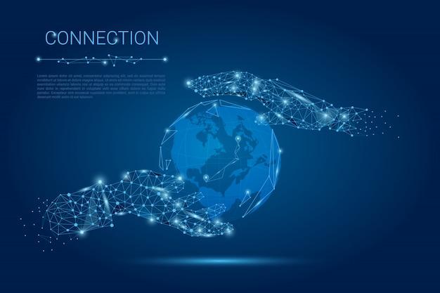 Fundo de conexão de mãos Vetor Premium