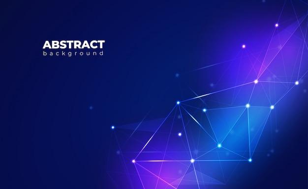 Fundo de conexão de rede. com baixo poli, ponto, círculo, linha, luz. pano de fundo da tecnologia digital Vetor Premium