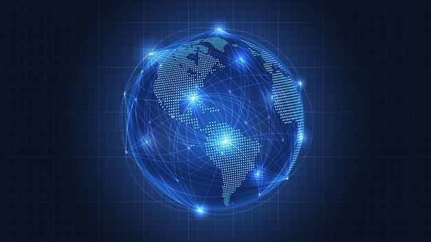 Fundo de conexão de rede global Vetor Premium