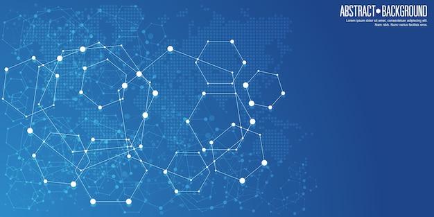 Fundo de conexões de rede abstrata Vetor Premium