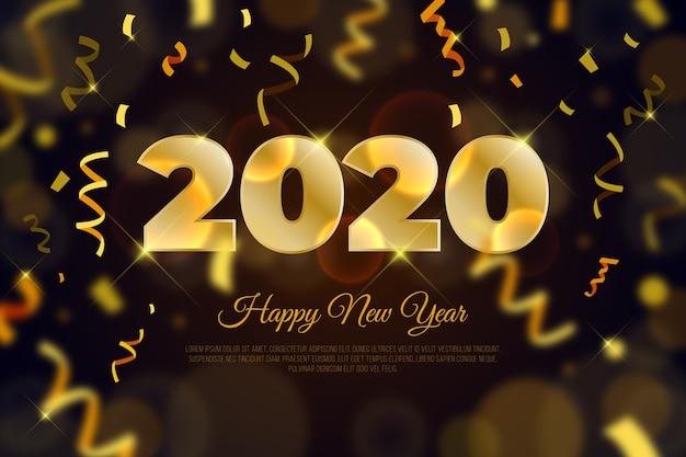 Fundo de confete ano novo 2020 Vetor grátis
