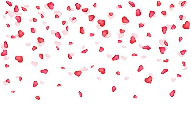 Fundo de confetes de coração Vetor Premium