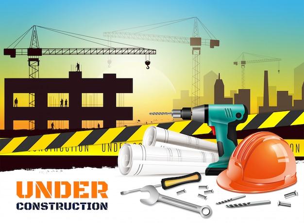 Fundo de construção realista com sob título de construção e equipamentos diferentes na ilustração da frente Vetor grátis