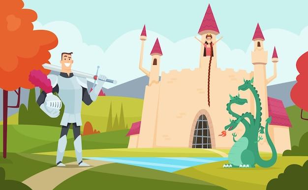 Fundo de conto de fadas. paisagem de fantasia ao ar livre com o mundo dos desenhos animados engraçados personagens mágicos. Vetor Premium