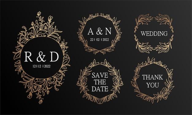 Fundo de convite de casamento de grinalda floral vintage preto e dourado desenhado à mão Vetor Premium
