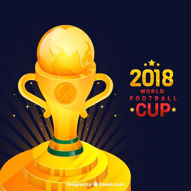 Fundo de copa de futebol com o troféu de ouro  3fd58a50cd0a2