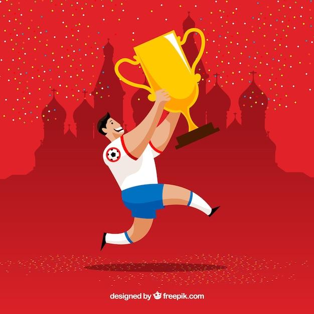 Fundo de copa do mundo de futebol com jogador e troféu  6b72fa439fa66
