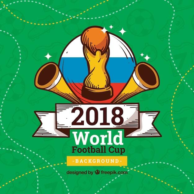 Fundo de copa do mundo de futebol com troféu na mão desenhada estilo ... 377240fa5c775