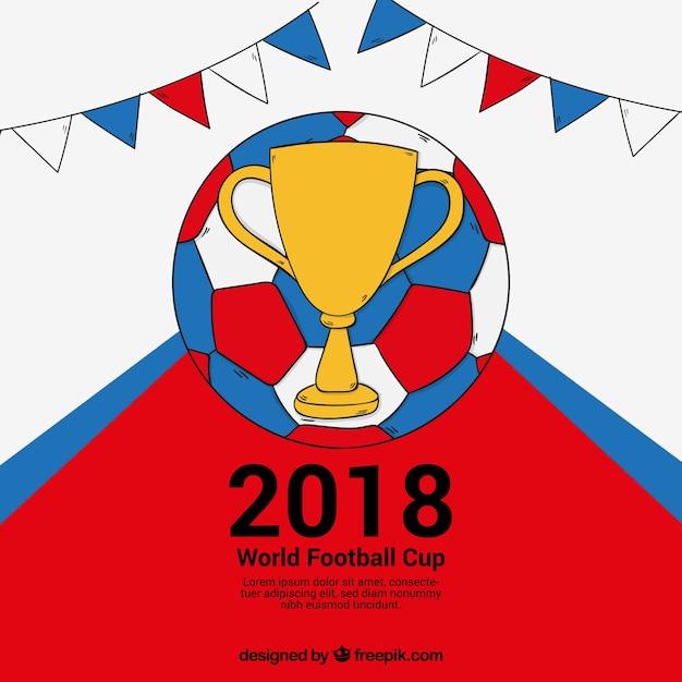 Fundo de copa do mundo de futebol de 2018 na mão desenhada estilo Vetor grátis