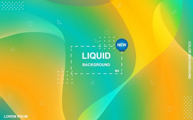 Fundo de cor líquida. composição de formas de gradiente fluida. Vetor Premium