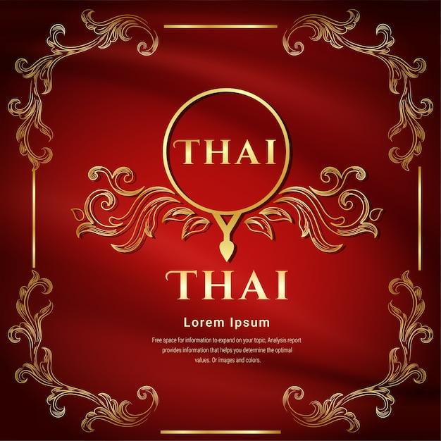 Fundo de cor vermelha, conceito tradicional tailandês as artes de thailan. Vetor Premium