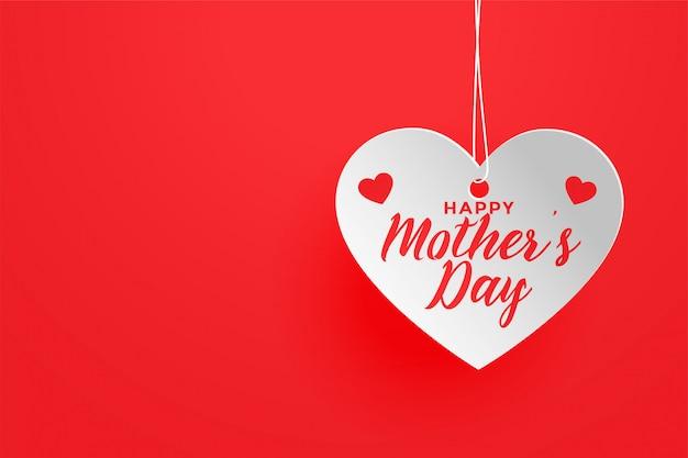 Fundo de coração feliz dia das mães tema vermelho Vetor grátis