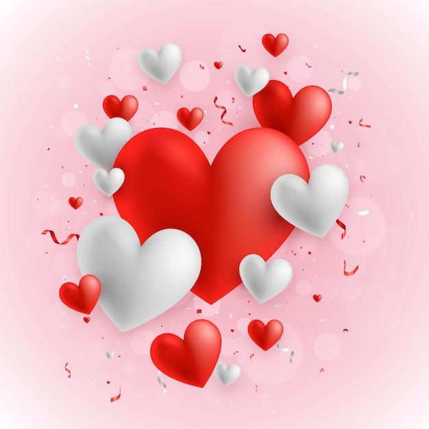Fundo de corações para dia dos namorados Vetor Premium