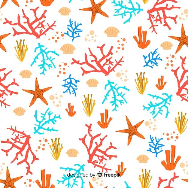Fundo de coral desenhado de mão Vetor grátis