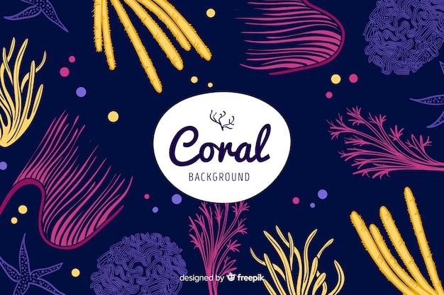 Fundo de coral escuro de mão desenhada Vetor grátis